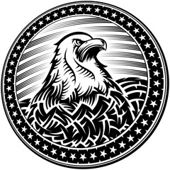The American Bald Eagle with stars and stripes as a symbol of the Independence Day of the US on 4th July; Vector monochrome print in ink hand drawing style