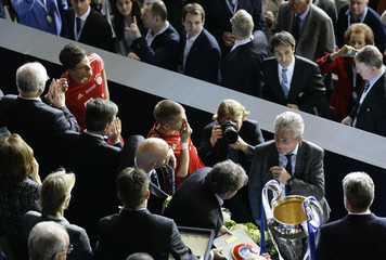 Bayern Munich coach Heynckes attends the awad ceremony after the Champions League final soccer match against Chelsea at the Allianz Arena in Munich