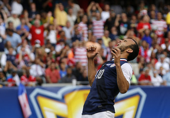 Landon Donovan of the U.S. yells after missing a scoring attempt against Panama during the second half of the CONCACAF Gold Cup soccer final in Chicago, Illinois