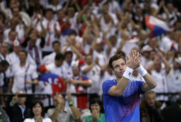 Czech Republic's Berdych celebrates defeating Serbia's Lajovic during their Davis Cup World Group final tennis match in Belgrade