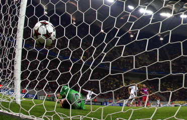 Goalkeeper Tatarusanu of Steaua Bucharest concedes a goal from Diaz of Basel during their Champions League soccer match at the National Arena in Bucharest