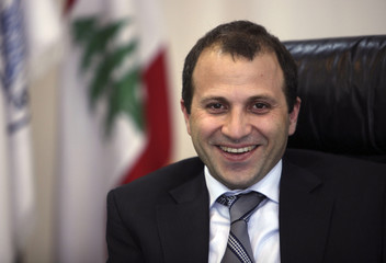 Lebanon's Minister of Energy and Water Gebran Bassil smiles during an inteview with Reuters at his office in Beirut