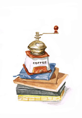 Watercolor coffee mill with books on white background