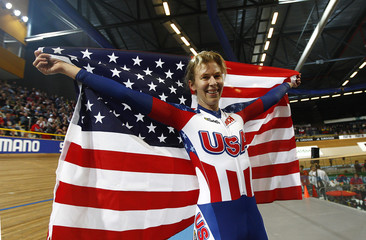Hammer from the U.S. reacts after winning the Women's Individual Pursuit Final at the UCI Track Cycling World Championships in Apeldoorn