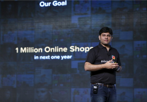 Komaravelly, senior vice president of marketing of Indian online marketplace Snapdeal, addresses the media during news conference in New Delhi