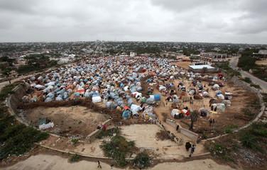 An aerial view shows Seyidka settlement for the famine stricken, internally displaced people in Berkulan near Somalia's capital Mogadishu