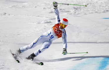 Sweden's Olsson skis during the second run of the men's alpine skiing giant slalom event at the 2014 Sochi Winter Olympics