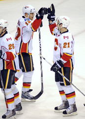 Calgary Flames Iginla gives a high-five to Higgins after team's win over Minnesota Wild during their NHL hockey game at the Xcel Energy Center in St. Paul, Minnesota