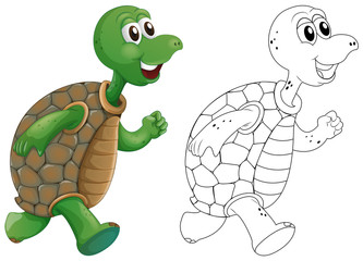Animal outline for turtle running