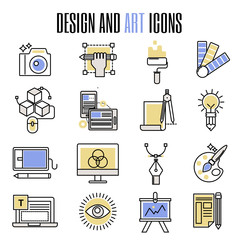 Design and art icons in flat design artistic entertainment symbols graphic color creativity collection vector illustration.