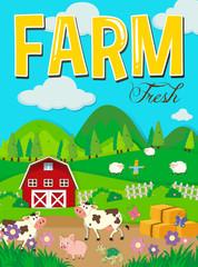 Farm scene with animals and barn