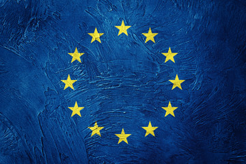 Grunge Europe Union flag. EU flag with grunge texture.