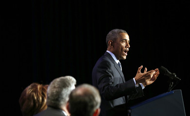 U.S. President Obama speaks at the General Session of the 2015 Democratic National Committee Winter Meeting in Washington