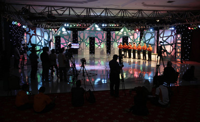 """Contestant of Malaysia's """"Young Imam"""" cable television programme stand together during the show's recording in Kuala Lumpur"""