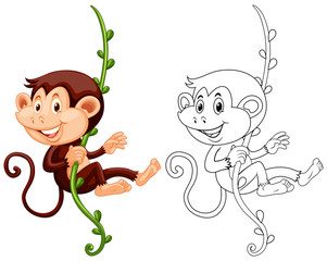 Animal outline for monkey hanging on vine