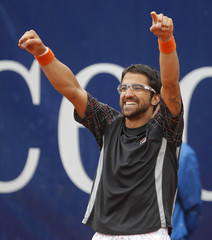 Tipsarevic of Serbia celebrates his victory during the final match against Monaco of Argentina at the ATP Mercedes cup tennis tournament in Stuttgart