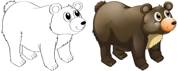 Animal outline for cute bear