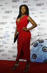 Recording artist and actress Jully Black arrives on the red carpet during the 41st Juno Awards in Ottawa