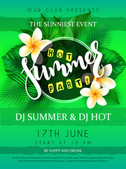 vector illustration of summer party poster with round frame, blooming plumeria flowers, tropical leaves and hand lettering text - summer