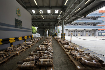 Ivory tusks are displayed after being seized by the Customs and Excise Department in Hong Kong