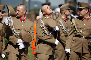 Honour guards wait for the inauguration ceremony of Hungary's new president Janos Ader in Budapest