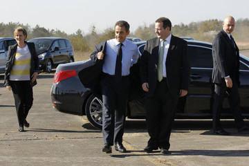 France's President and UMP party candidate for the 2012 French presidential elections, Nicolas Sarkozy, visits to a solar power plant in Toul-Rosieres