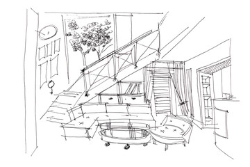 designer freehand drawing of draft sketch for living room with stars