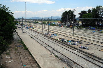 The train station where migrants used to stay is seen during a police operation to evacuate a migrants' makeshift camp at the Greek-Macedonian border near the village of Idomeni