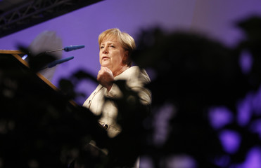 German Chancellor Angela Merkel addresses an economic council meeting of Germany's Christian Democratic Union in Berlin