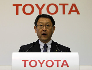 Toyota Motor Corp President Toyoda speaks during a news conference in Tokyo