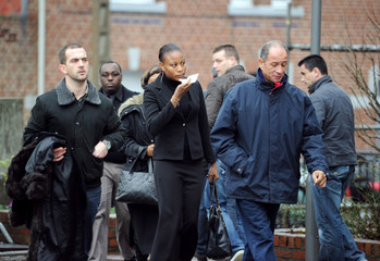 Antoine de Leocour's fiancee Rakia of Niger arrives for the funeral of Antoine de Leocour and  Vincent Delory at the Linselles church
