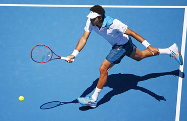 Jo-Wilfried Tsonga of France hits a return to Thomaz Bellucci of Brazil during their men's singles match at the Australian Open 2014 tennis tournament in Melbourne