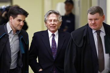 Filmmaker Polanski arrives for a court hearing in Krakow