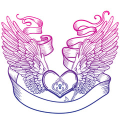 illustration of angel wings and heart, tape and key.