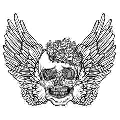 Line art illustration of angel wings, scary skull and flowers. Vintage print for St. Valentine s Day. Sketch for tattoo, hipster t-shirt design, vintage style posters.