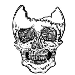 Vector illustration with a human skull. Gothic brutal skull. For print t-shirts or book coloring.