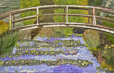 Detail is seen of a floral display inspired by Monet's Impressionist painting at Giverney, at the Chelsea Flower Show in London