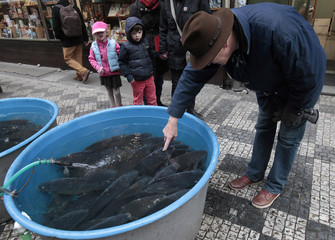 A man points to a carp in plastic tank at a market in central Prague