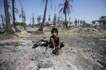 A girl joins others collecting pieces of metal from the rubble of a neighbourhood in Pauktaw township that was burned in recent violence