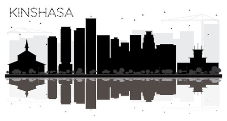 Kinshasa City skyline black and white silhouette with reflections.