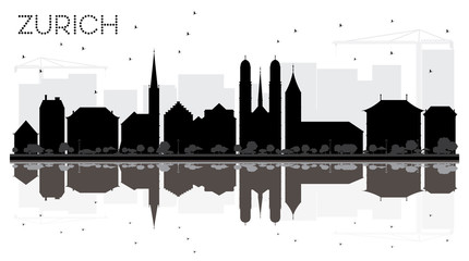 Zurich City skyline black and white silhouette with reflections.