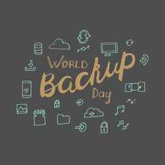 World backup day poster, hand drawn style