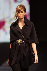 A model presents a creation from Spanish designer Adolfo Dominguez's Autumn/Winter 2011 collection during Bogota Fashion Week