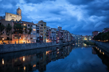 Girona City at Dusk in Catalonia, Spain