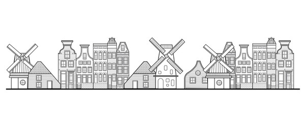 Amsterdam houses, windmill and city style Netherlands