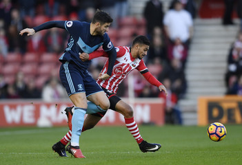 Middlesbrough's Antonio Barragan in action with Southampton's Sofiane Boufal