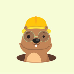 Cute happy smiling mole character.