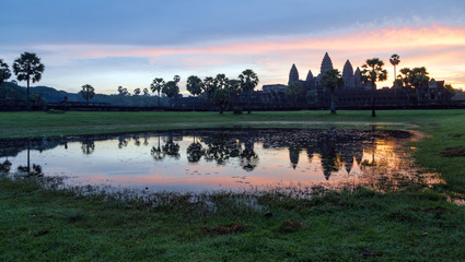 Stunning Sunrise and reflections at Angkor Wat - Siem Reap - Cambodia Biggest religious monument on the World