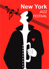 Jazz Festival / Creative conceptual music festival vector. Man playing musical instrument.