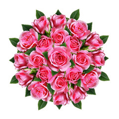 Ordered round bouquet of pink rose flowers and buds